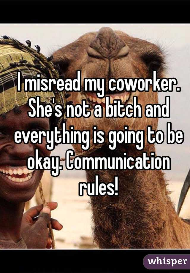I misread my coworker. She's not a bitch and everything is going to be okay. Communication rules!