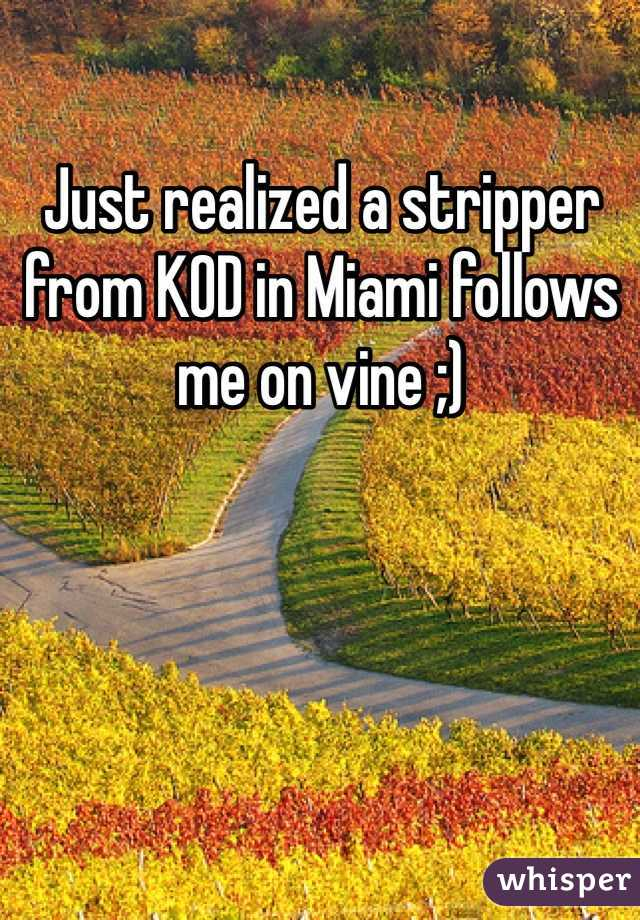 Just realized a stripper from KOD in Miami follows me on vine ;)