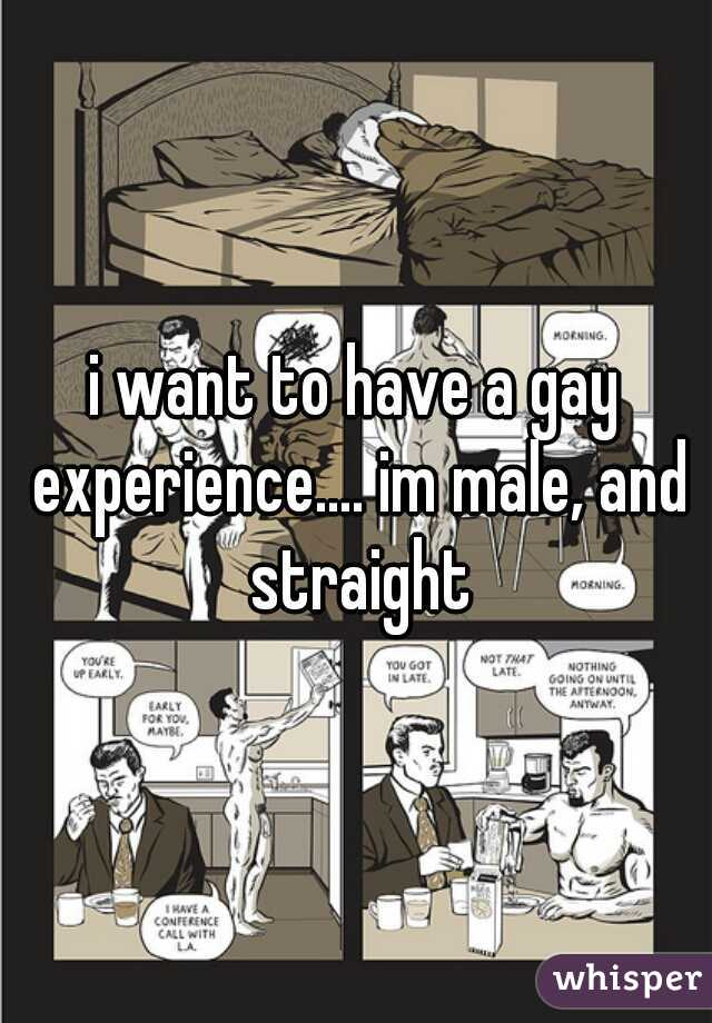 i want to have a gay experience.... im male, and straight
