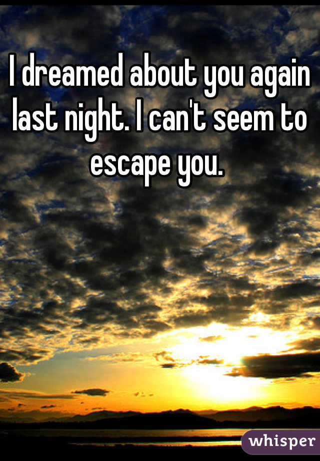 I dreamed about you again last night. I can't seem to escape you.