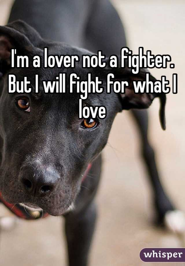 I'm a lover not a fighter. But I will fight for what I love