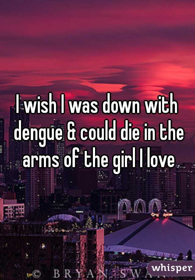 I wish I was down with dengue & could die in the arms of the girl I love