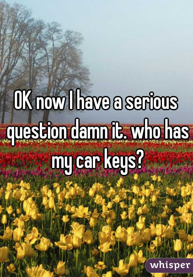 OK now I have a serious question damn it. who has my car keys?