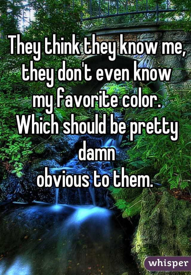 They think they know me,  they don't even know  my favorite color.  Which should be pretty damn  obvious to them.