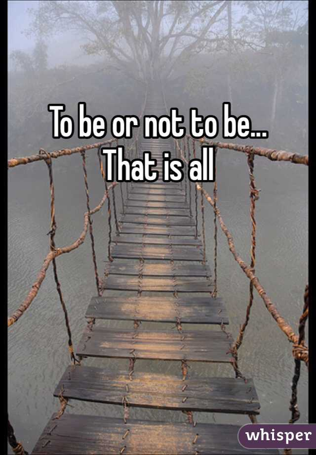 To be or not to be... That is all