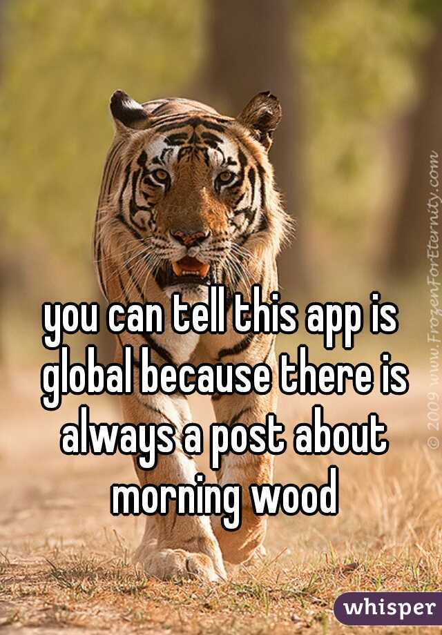 you can tell this app is global because there is always a post about morning wood