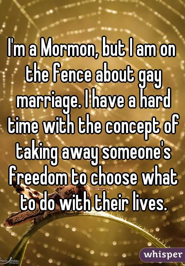 I'm a Mormon, but I am on the fence about gay marriage. I have a hard time with the concept of taking away someone's freedom to choose what to do with their lives.