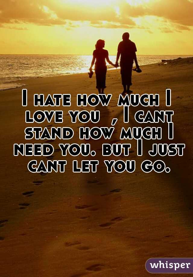 I hate how much I love you  , I cant stand how much I need you. but I just cant let you go.