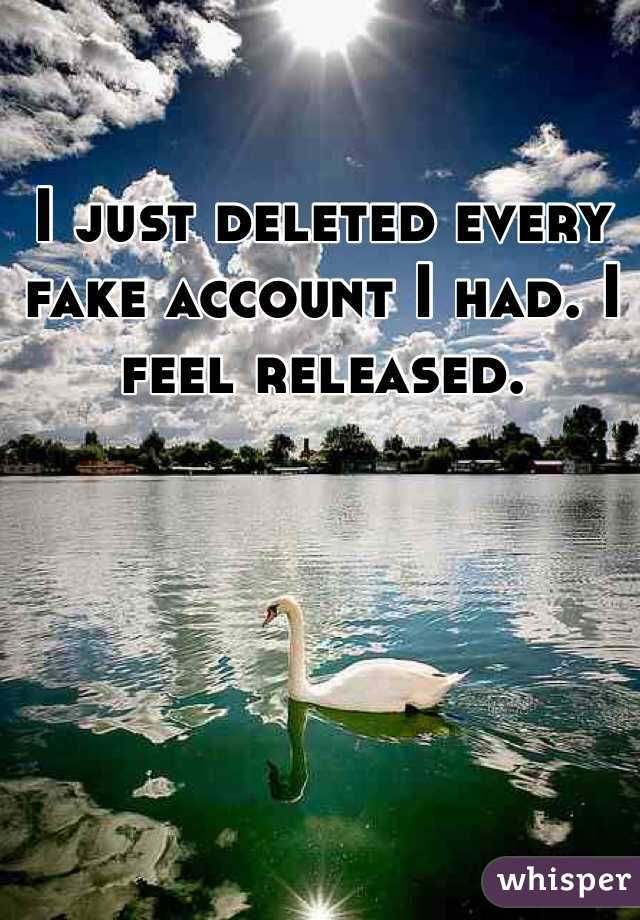 I just deleted every fake account I had. I feel released.