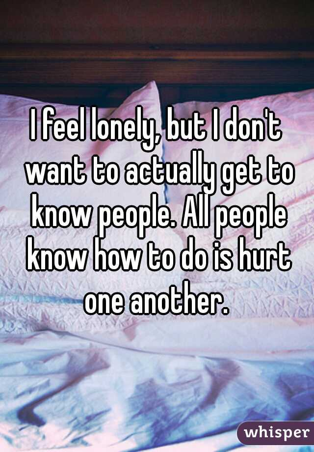 I feel lonely, but I don't want to actually get to know people. All people know how to do is hurt one another.