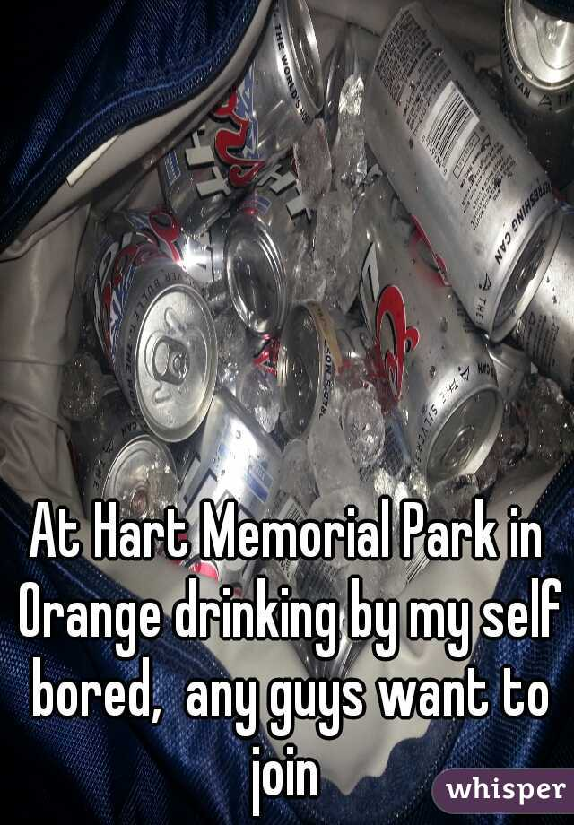 At Hart Memorial Park in Orange drinking by my self bored,  any guys want to join
