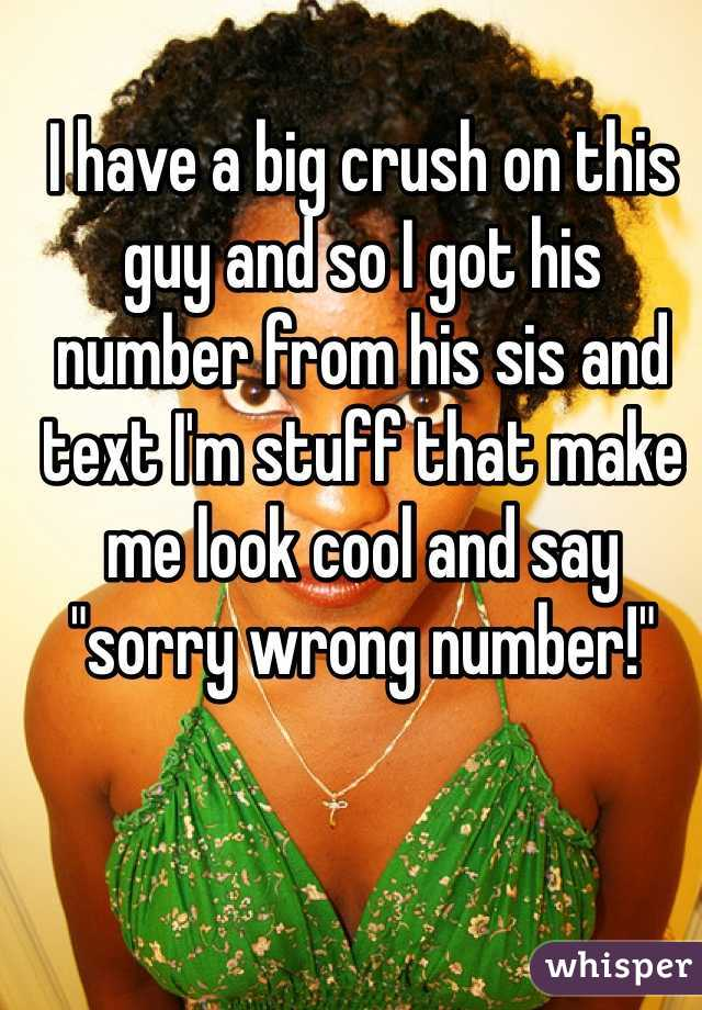 """I have a big crush on this guy and so I got his number from his sis and text I'm stuff that make me look cool and say """"sorry wrong number!"""""""