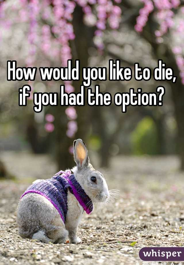 How would you like to die, if you had the option?
