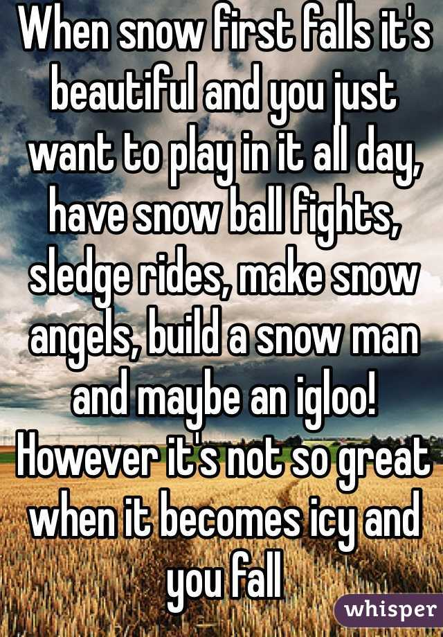 When snow first falls it's beautiful and you just want to play in it all day, have snow ball fights, sledge rides, make snow angels, build a snow man and maybe an igloo! However it's not so great when it becomes icy and you fall And nearly do your back in! Yet nothing beats it❄️⛄️