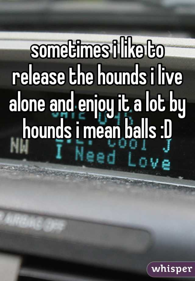 sometimes i like to release the hounds i live alone and enjoy it a lot by hounds i mean balls :D