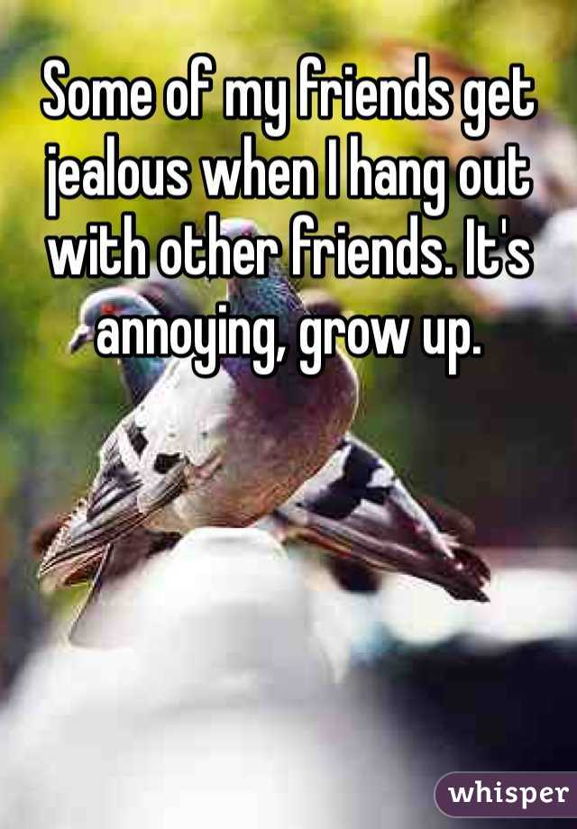 Some of my friends get jealous when I hang out with other friends. It's annoying, grow up.