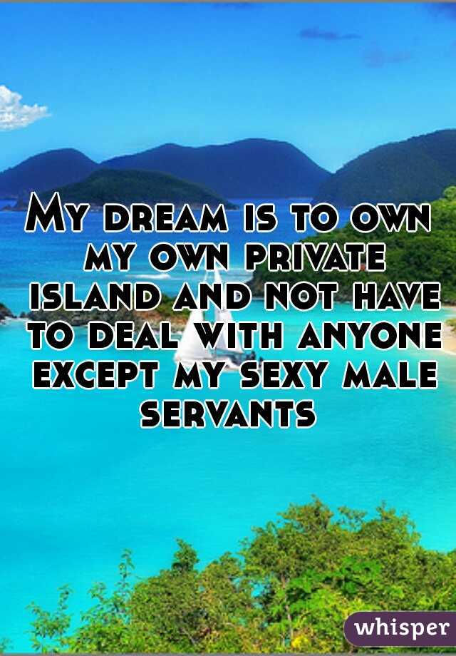 My dream is to own my own private island and not have to deal with anyone except my sexy male servants