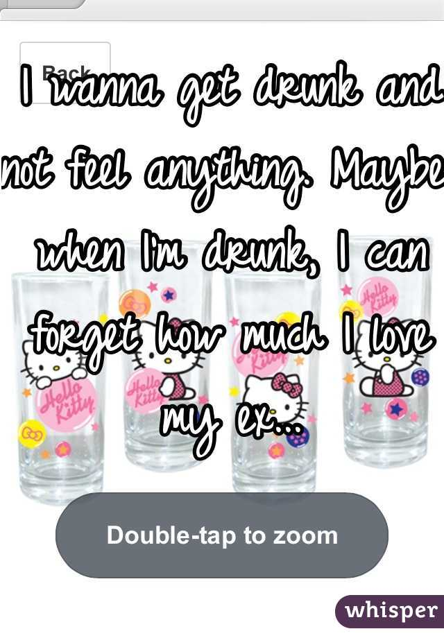 I wanna get drunk and not feel anything. Maybe when I'm drunk, I can forget how much I love my ex...