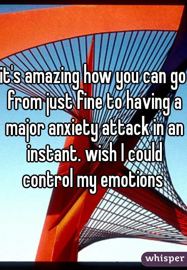 it's amazing how you can go from just fine to having a major anxiety attack in an instant. wish I could control my emotions