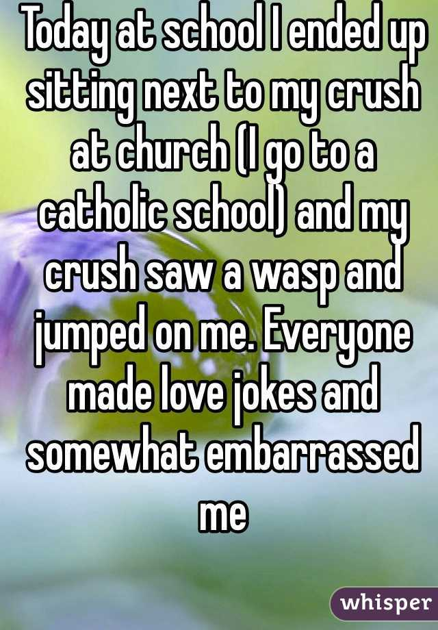 Today at school I ended up sitting next to my crush at church (I go to a catholic school) and my crush saw a wasp and jumped on me. Everyone made love jokes and somewhat embarrassed me