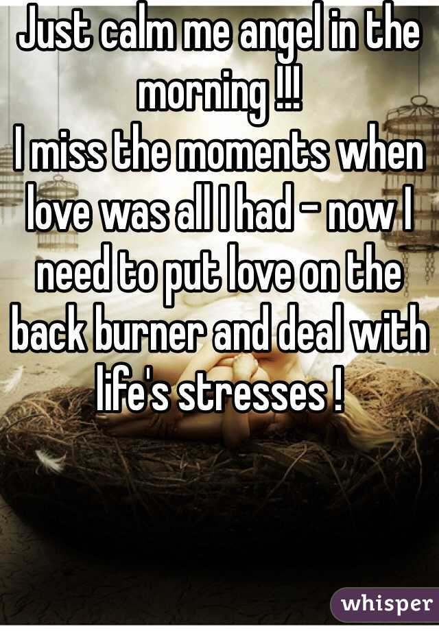 Just calm me angel in the morning !!! I miss the moments when love was all I had - now I need to put love on the back burner and deal with life's stresses !