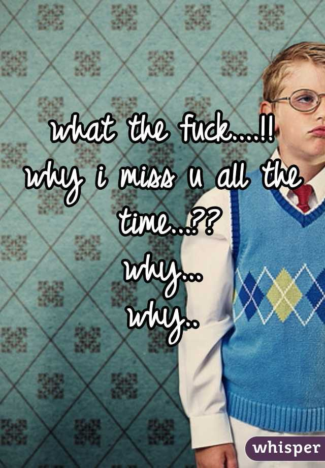 what the fuck....!! why i miss u all the time...?? why... why..