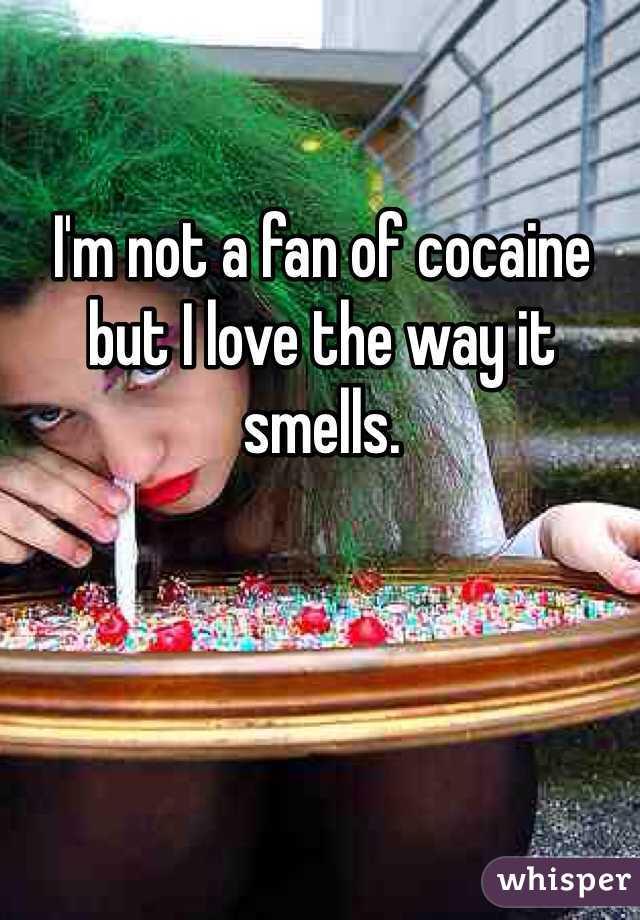 I'm not a fan of cocaine but I love the way it smells.