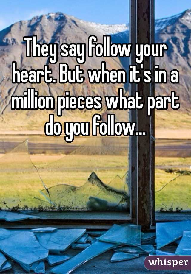 They say follow your heart. But when it's in a million pieces what part do you follow...