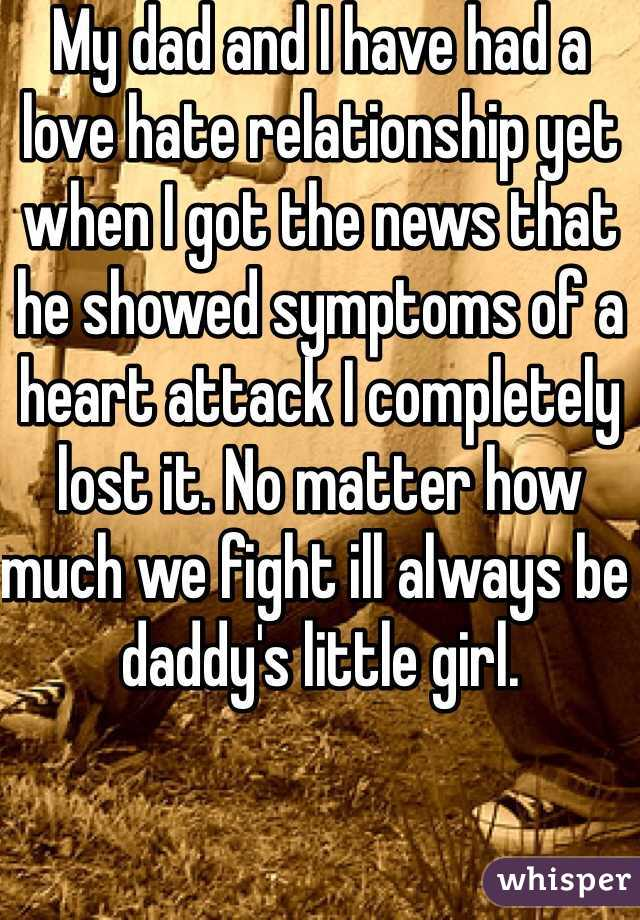 My dad and I have had a love hate relationship yet when I got the news that he showed symptoms of a heart attack I completely lost it. No matter how much we fight ill always be daddy's little girl.