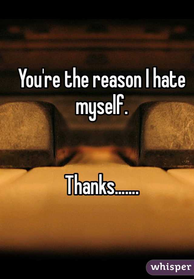 You're the reason I hate myself.    Thanks.......