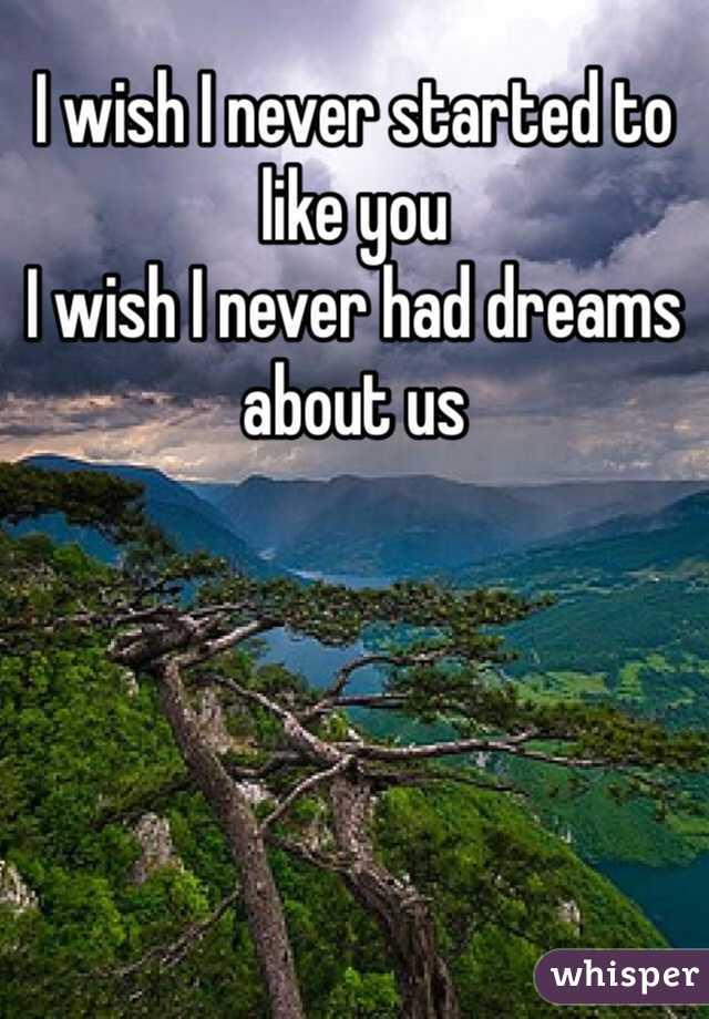 I wish I never started to like you I wish I never had dreams about us