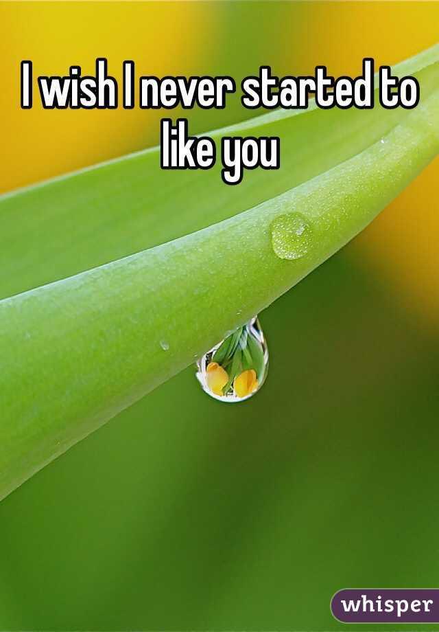 I wish I never started to like you