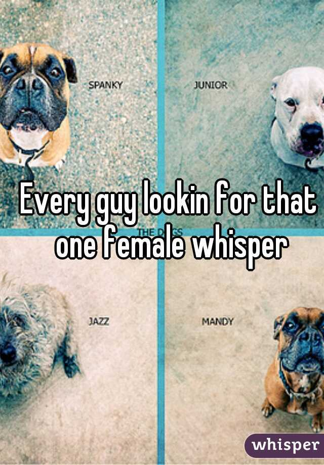 Every guy lookin for that one female whisper