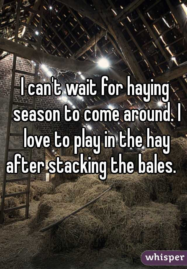I can't wait for haying season to come around. I love to play in the hay after stacking the bales.