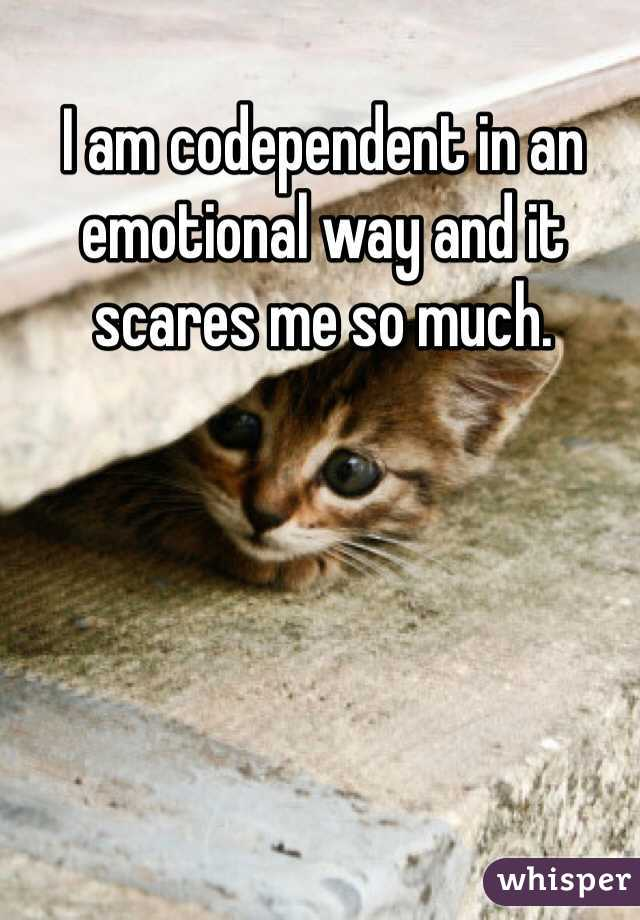 I am codependent in an emotional way and it scares me so much.