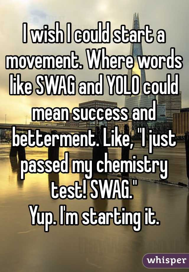"I wish I could start a movement. Where words like SWAG and YOLO could mean success and betterment. Like, ""I just passed my chemistry test! SWAG.""  Yup. I'm starting it."