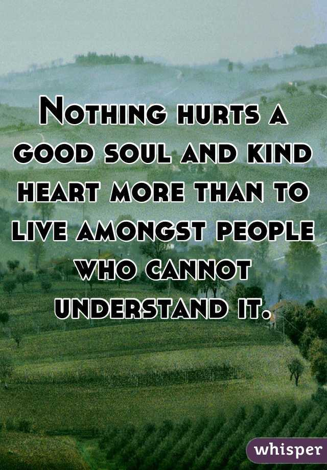 Nothing hurts a good soul and kind heart more than to live amongst people who cannot understand it.