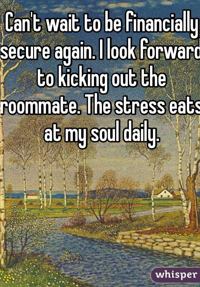 Can't wait to be financially secure again. I look forward to kicking out the roommate. The stress eats at my soul daily.