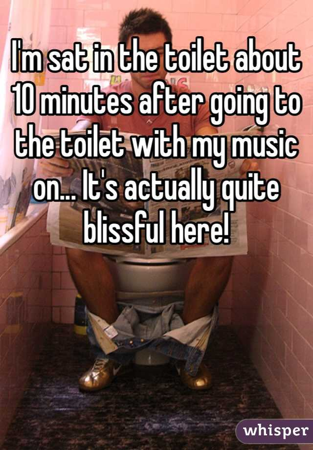 I'm sat in the toilet about 10 minutes after going to the toilet with my music on... It's actually quite blissful here!