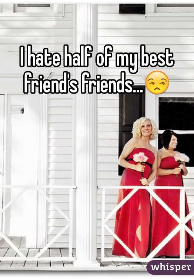 I hate half of my best friend's friends...😒