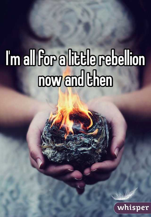 I'm all for a little rebellion now and then