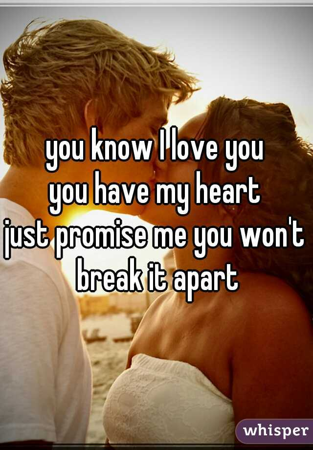 you know I love you you have my heart just promise me you won't break it apart