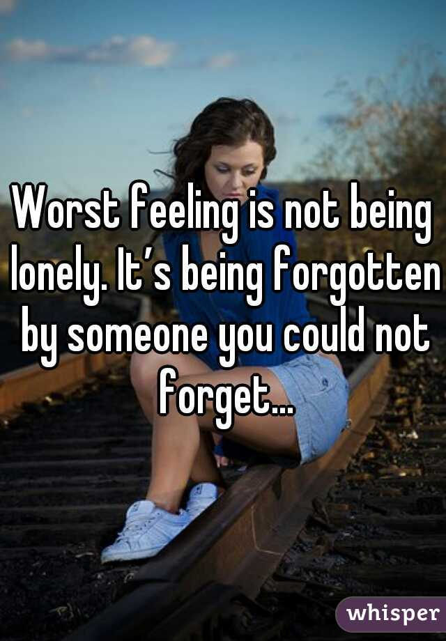 Worst feeling is not being lonely. It's being forgotten by someone you could not forget...