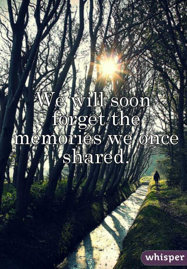 We will soon  forget the memories we once shared.