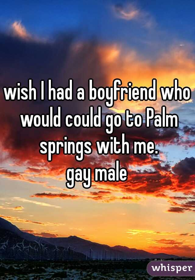 wish I had a boyfriend who would could go to Palm springs with me.  gay male
