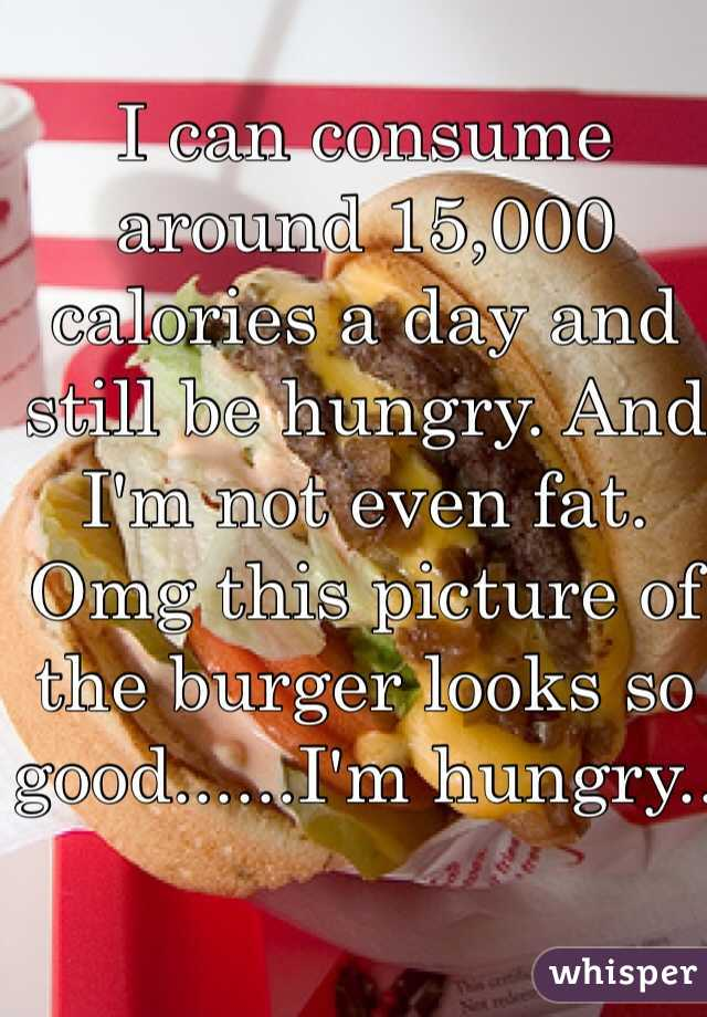 I can consume around 15,000 calories a day and still be hungry. And I'm not even fat. Omg this picture of the burger looks so good......I'm hungry..