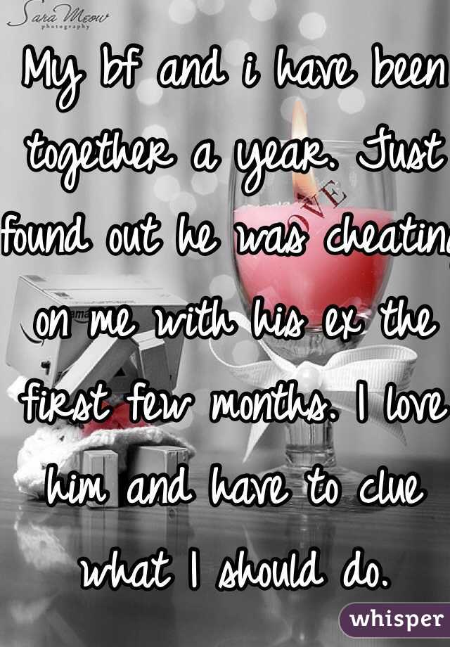 My bf and i have been together a year. Just found out he was cheating on me with his ex the first few months. I love him and have to clue what I should do.