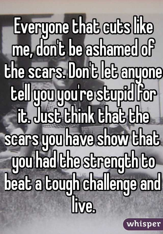 Everyone that cuts like me, don't be ashamed of the scars. Don't let anyone tell you you're stupid for it. Just think that the scars you have show that you had the strength to beat a tough challenge and live.