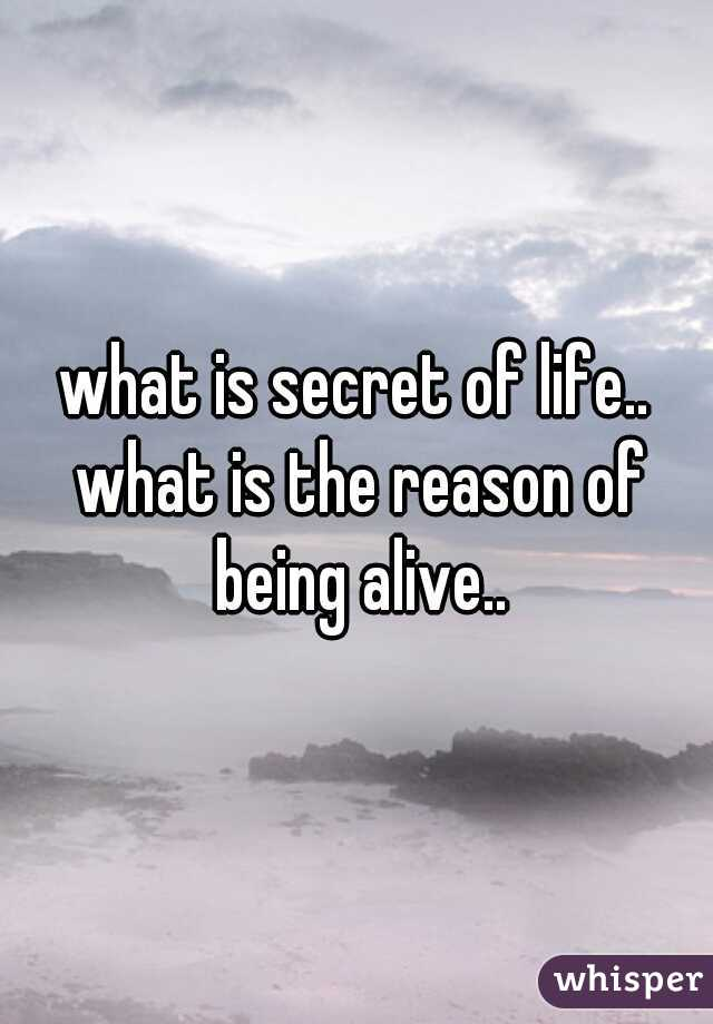 what is secret of life.. what is the reason of being alive..