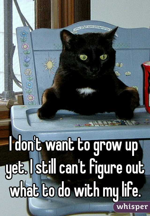 I don't want to grow up yet. I still can't figure out what to do with my life.
